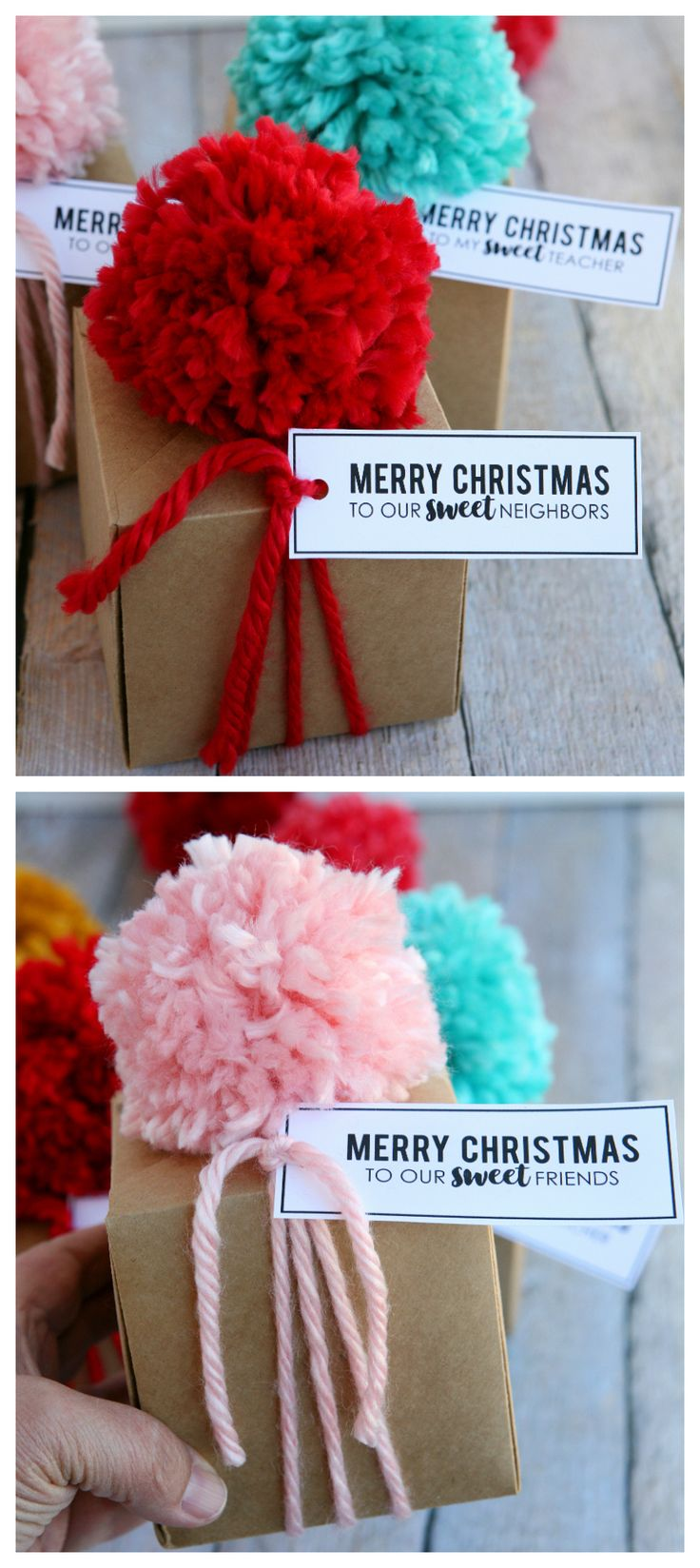 DIY Christmas Treat Boxes | So fun to make and includes the free printable tags for friends, teacher and neighbors!