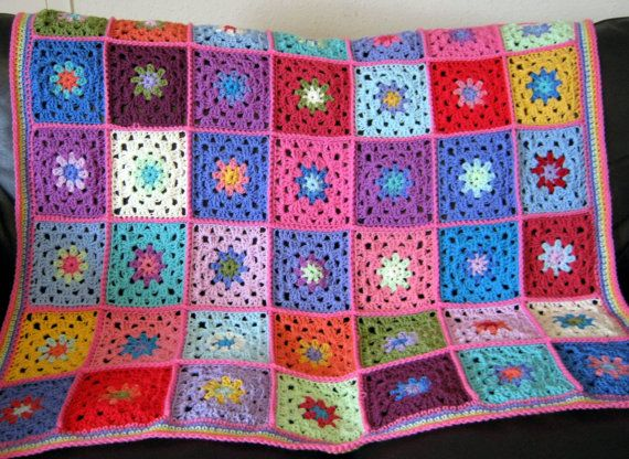 Candy Pink Gorgeous Granny Square Crochet Blanket by Thesunroomuk