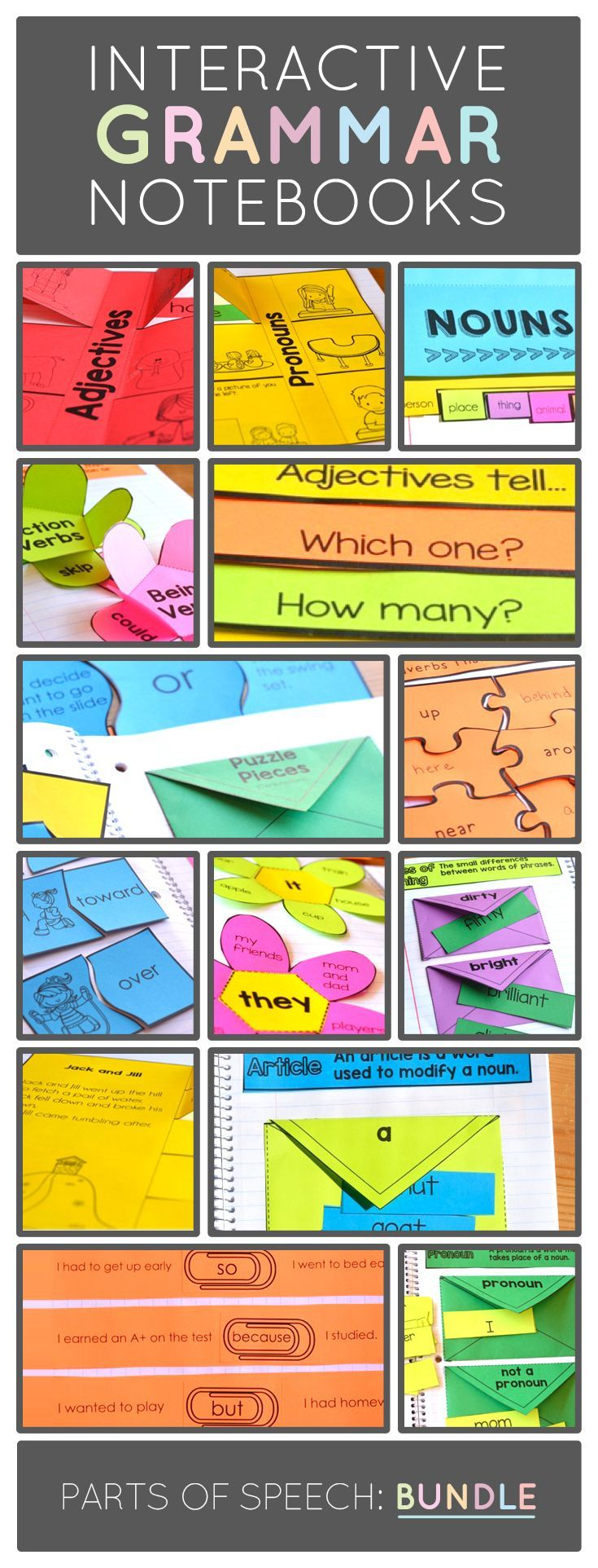 Grammar and Parts of Speech Tips and Interactive Grammar Notebook Resource for Kindergarten, 1st, and 2nd Grade Teachers and Students.  Includes nouns, verbs, adjectives, adverbs, conjunctions, pronouns, articles, and prepositions.