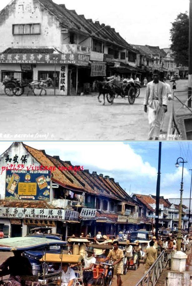 Kalibesar Zuid te Batavia, circa 1920, ,., Kalibesar Zuid te Djakarta, 1950 1960