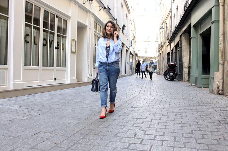 H&M Blue stripped shirt, H&M boyfriend jeans, PRINCESSE TAMTAM lace bodysuit, PIMKIE red heels, CHRISTIAN LAURIER navy blue « Kate » purse - MANGE BRILLE AIME - Blog Mode & Lifestyle