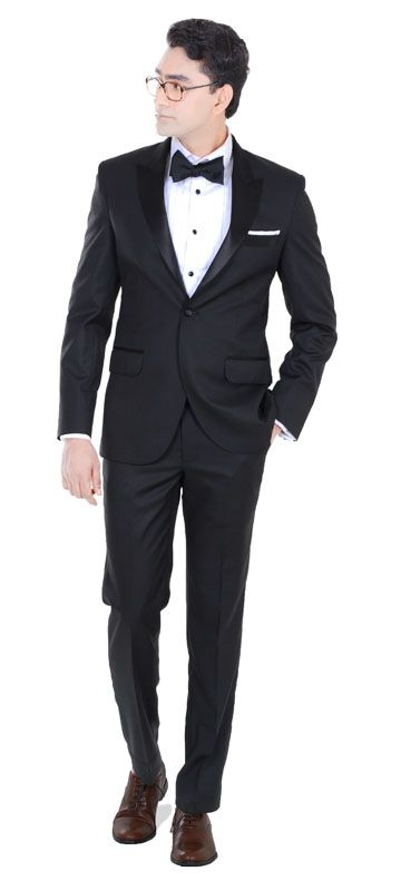 The perfect peak lapel black tuxedo for weddings. In this custom tuxedo you are sure to get all the attention at every single event. Combines the all time essence of a classic bespoke tuxedo crafted into the modern day styles and sensibilities.  Super 110s  All Season Wear  Wrinkle Resistant Pure Australian Merino Wool Blended  Perfect for Weddings/ Dinners  Perfect suit for the Groom  Combine with a black bow tie and a Tuxedo Shirt with black buttons