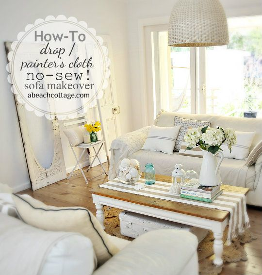 No Sew Sofa Makeover How to Cover a Sofa with fabric / drop cloth