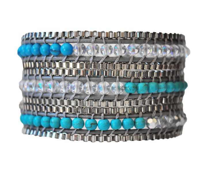 Hello Aquamarine & turquoise crystal! You belong on my wrist. Just saying.  #jewelry #2014fashion #turquoise #aqua #aquamarine #bracelet #wrapbracelet #stylish #armcandy