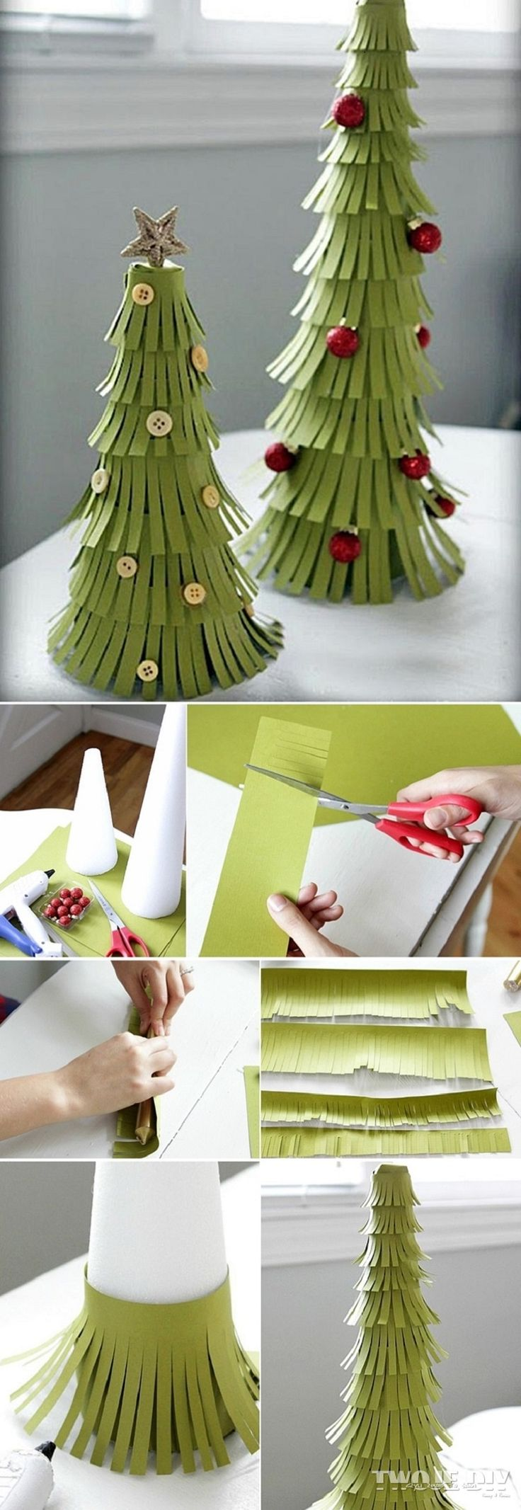 Foam Cone & Split paper chrissy trees