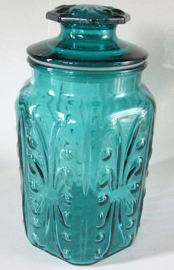 green glass kitchen canisters blue green teal glass jar embossed canister lidded hexagon 3987
