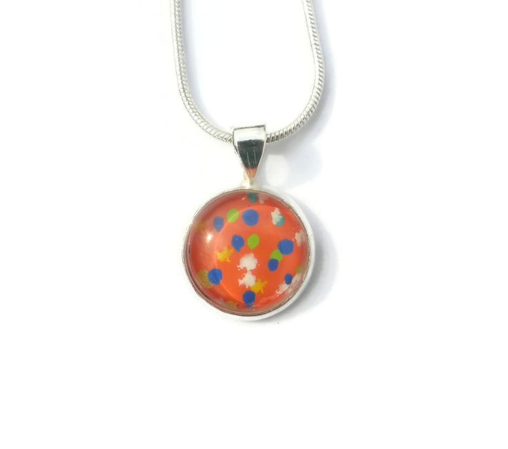 Small Round Pendant, Dainty Necklace, Gift For her, Abstract Pendant, Hand Painted Necklace, One of a Kind, Abstract Jewelry, Art Lover by Larryware on Etsy