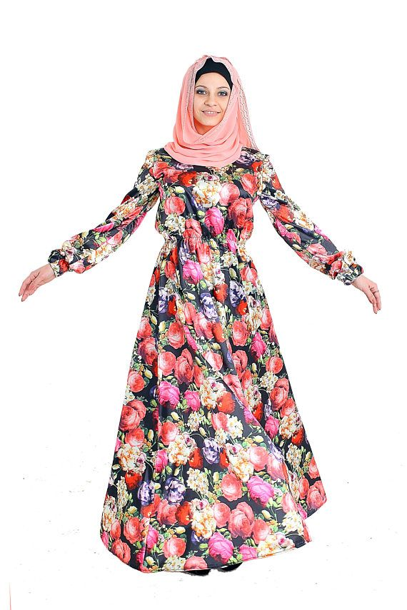 Unique floral maxi dress made of fine satin. The undoubted advantage of the dress is that it is not enlightened, light and comfortable. A long sleeve and a long skirt make it incredibly feminine and attractive. Elegant Muslim or boho outfit! The dress is of a large size, in the presence of the last! Cuffs and belt on the elastic band. Be feminine and beautiful, we are always happy to help you in your choice, you can write any questions in the message. We accept individual orders, this means…