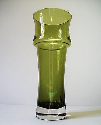 "1373 RIIHIMAKI Riihimaen Tamara Aladin Olive Green glass Vase 9""3/4"