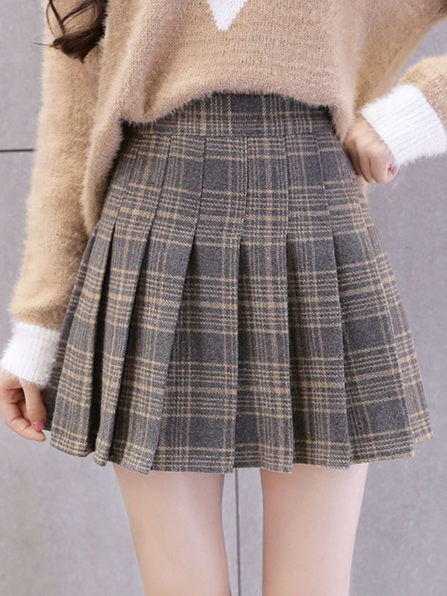 Fashion Inverted Pleat Plaid Pleated Mini #Skirts #fashion