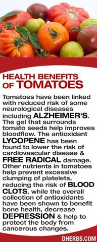 Tomatoes have been linked with reduced risk of some neurological diseases including Alzheimers. The gel that surrounds tomato seeds help improves bloodflow. The antioxidant Lycopene helps lower the risk of cardiovascular disease & free radical damage. Other nutrients in tomatoes help prevent excessive clumping of platelets, reduce the risk of blood clots, while the overall collection of antioxidants benefit bone health, decrease depression & protect from cancerous changes.