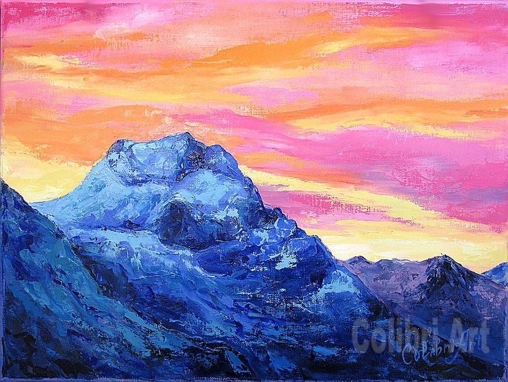 """Original Handmade Oil Painting Pink Sunrise 12"""" x 16"""" Gallery Canvas by Colibri Art Materials: gallery canvas, oil paints, palette knife Painting  Oil  colorful painting  original painting  painting for gift  impressionism  landscape mountains  dawn  picture  multicolor  mountain peaks  present for women  gift"""