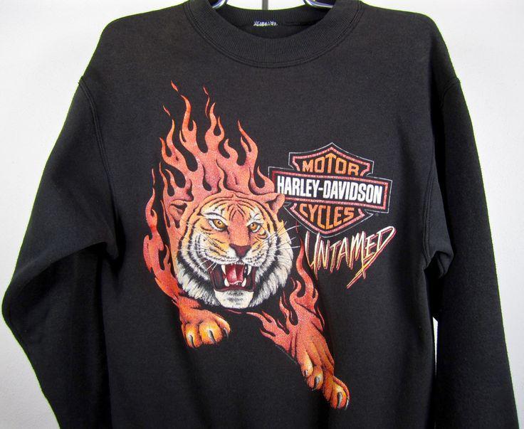 vintage 1980s 1990s black HARLEY davidson sweatshirt by luluvoodoo