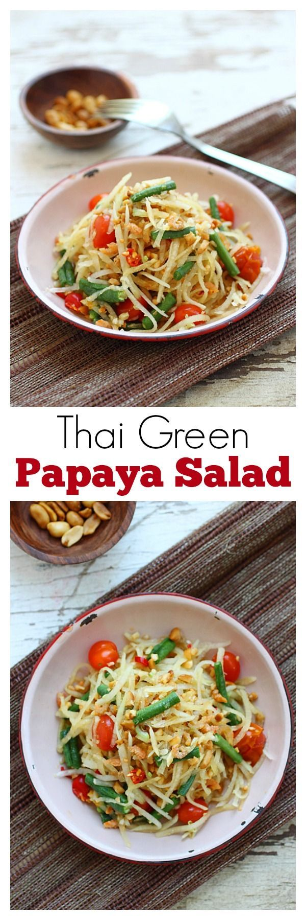 Thai green papaya salad - the best salad ever with shredded green papaya, long beans and tomatoes. So yummy   rasamalaysia.com