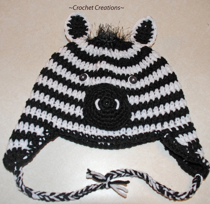 Free Crochet Zebra Patterns : Amys Crochet Creative Creations: Crochet Zebra Child Ear flap hat
