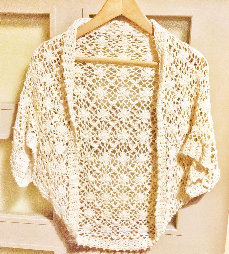 モチーフつなぎに見えるけど連続編みのボレロ crochet