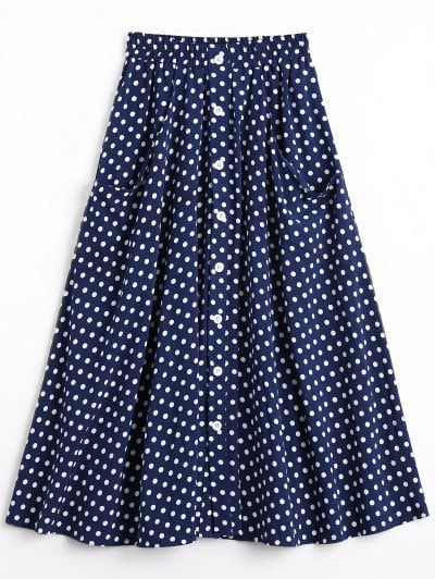 SHARE & Get it FREE | Button Up Polka Dot Skirt With Pockets - Dot Pattern LFor Fashion Lovers only:80,000+ Items • New Arrivals Daily Join Zaful: Get YOUR $50 NOW!