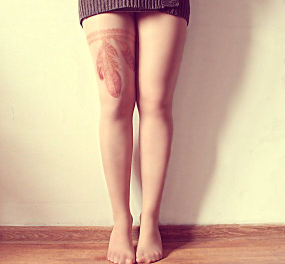 Free Shipping - Tribal Feathers Tattoo Tights - Made to order :) on Etsy, $23.00