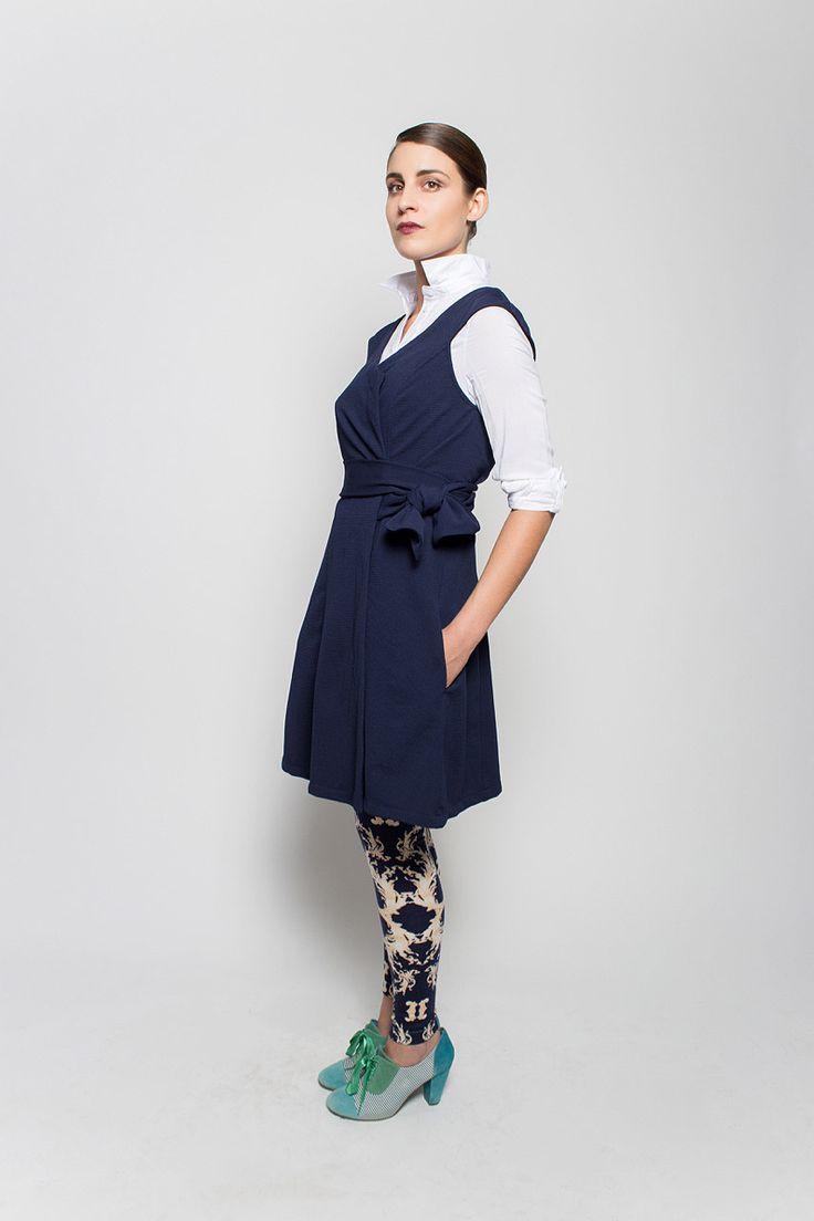 #lafemmemimi #fashion #prague #autumn #winter #2015 #lookbook #blue #vest #dress #bow #belt