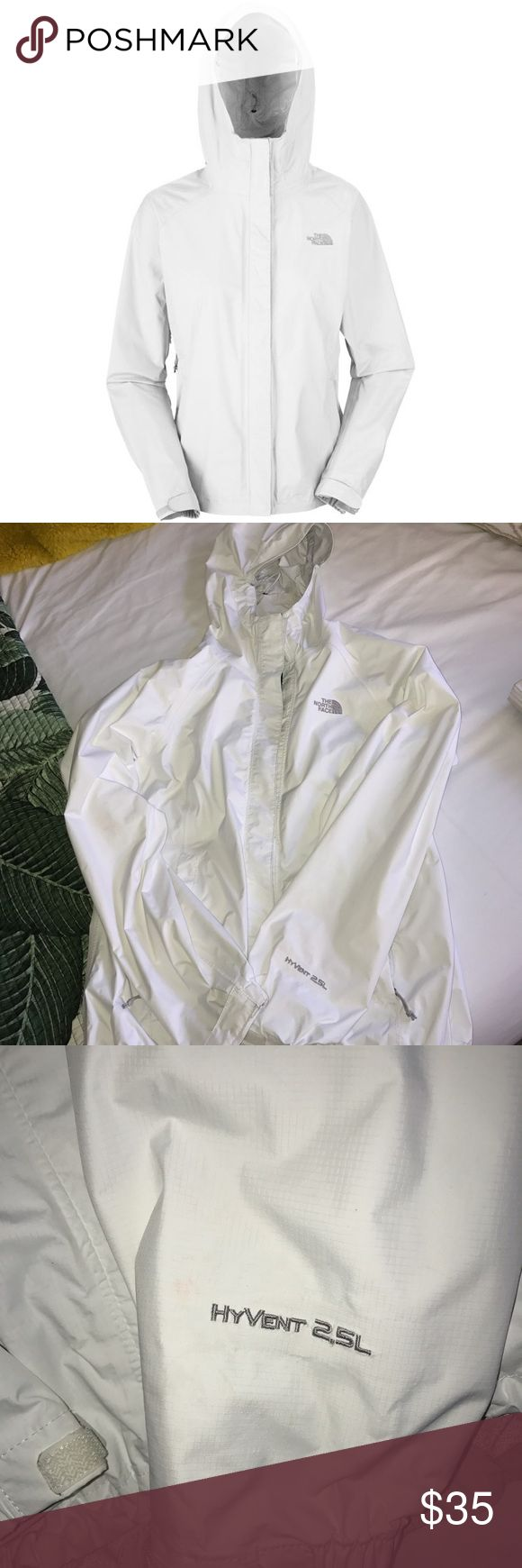 Women's White North Face Waterproof Jacket Was never sold, still on the market! EXCELLENT CONDITION. No tears! Very faint stain as seen in last photos. The North Face Jackets & Coats