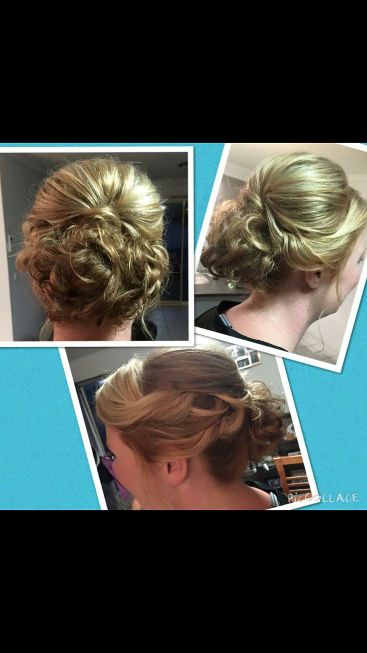 Messy back bun hairstyle