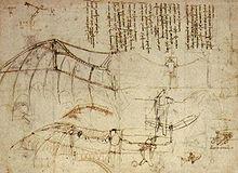 1490. Leonardo da VInci analyzed bird flight and anticipating many principles of aerodynamics. He designed this ornithopter