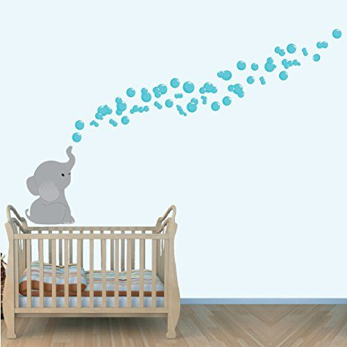 I love the bubbles out of the trunk!! Elephant Wall Decal, Jungle Stickers, Nursery Decals, Teal Grey Large Decal Nursery Decals and More http://www.amazon.com/dp/B00THGTD1A/ref=cm_sw_r_pi_dp_jG57ub105HKT8
