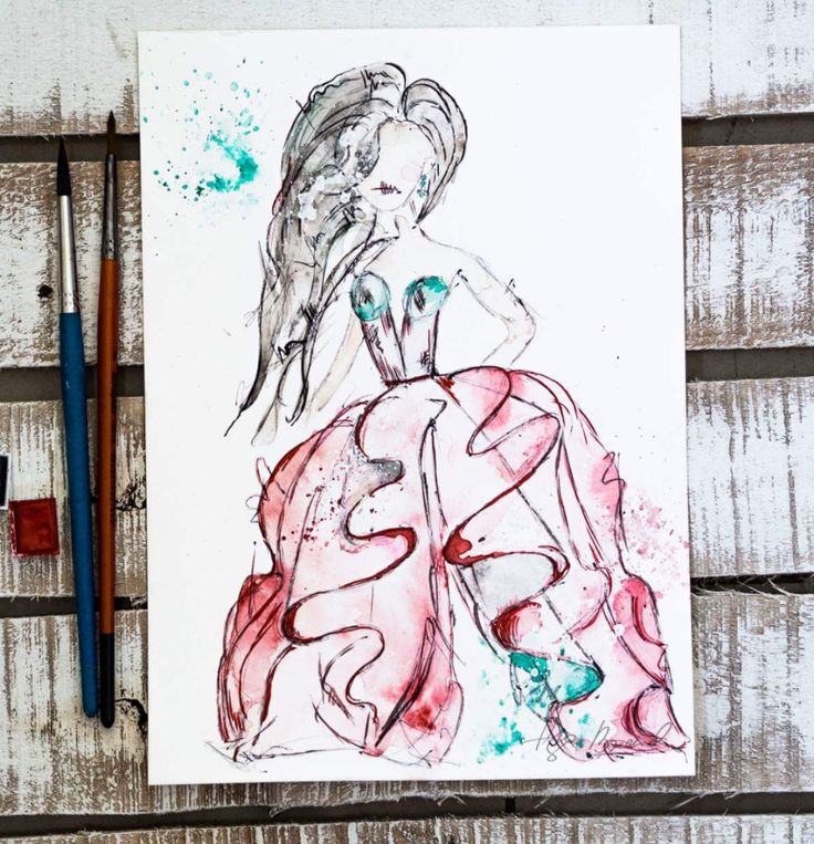 Wampirzyca ozdobiona akwarelami Winsor&Newton/ watercolor