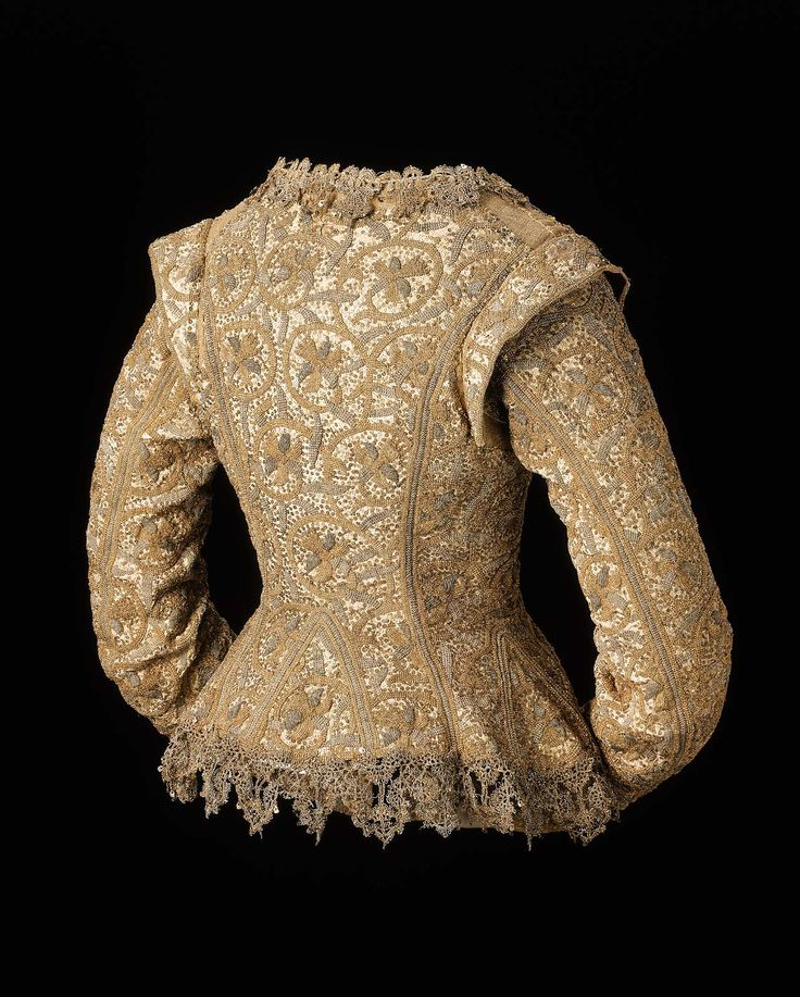 1610-1615, England - Woman's jacket - Linen plain weave, embroidered with silk and metallic threads and spangles; metallic bobbin lace