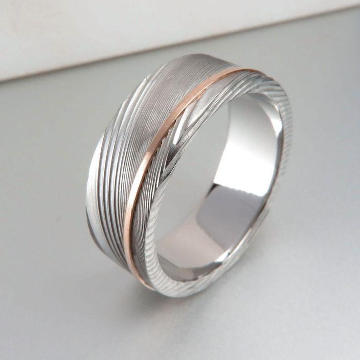 Stainless Damascus Rose Gold Stripe Ring