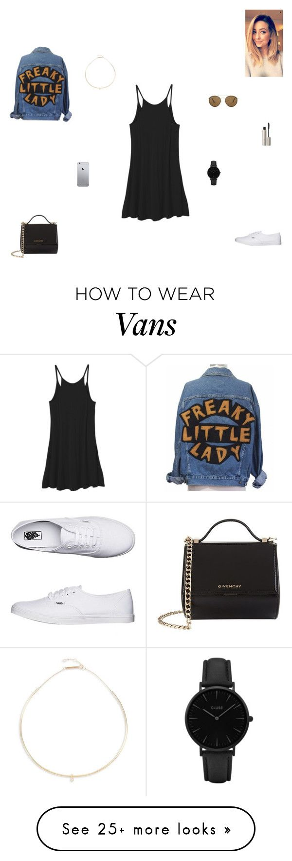 """freaky little lady"" by synclairel on Polyvore featuring RVCA, Vans, Givenchy, CLUSE, Ilia, Ray-Ban, Zoë Chicco, Spring, cute and casual"