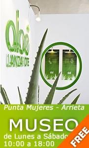 Aloe.  The Aloe Vera House (Museo) en el único Centro de Interpretación del Aloe Vera existente en el archipiélago de Canarias, en sus casi 150 metros cuadrados de superficie se hace un extenso recorrido sobre la historia, el cultivo, la producción, etc., de esta planta milagrosa.  El centro pertenece a la empresa ALOE PLUS LANZAROTE.  www.aloepluslanzarote.com