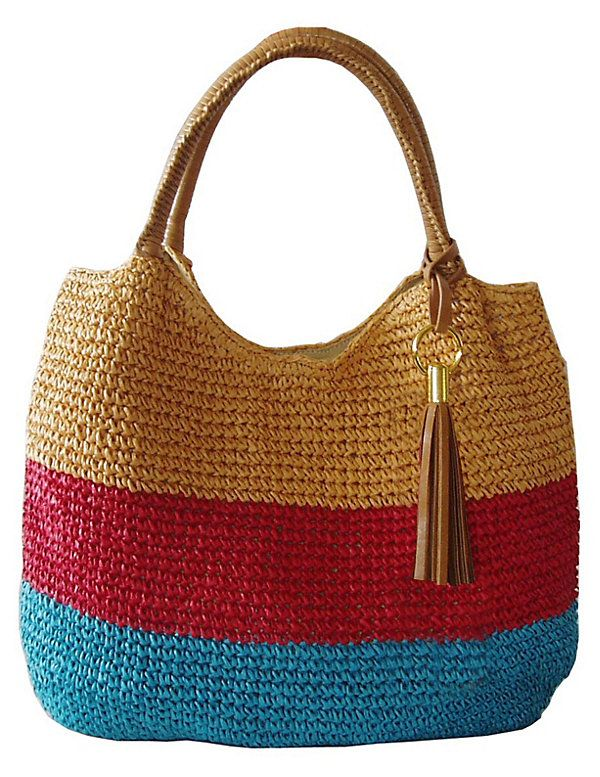 One Kings Lane - Bag the Boho Look - Striped Crochet Tote, Yellow/Red
