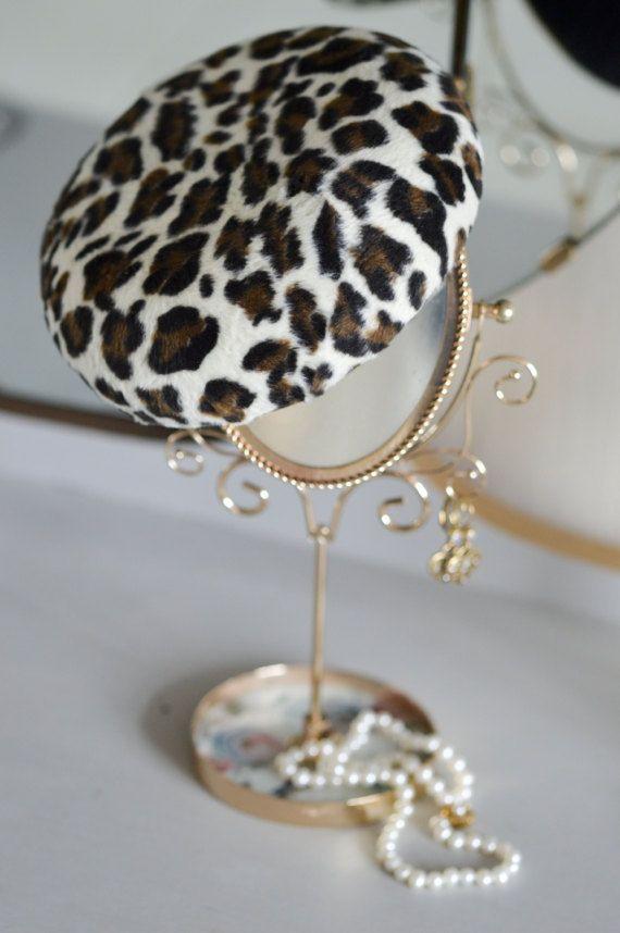 Leopard Pillbox Hat  Cocktail Hat  Fascinator by JanaRoyaleDesign