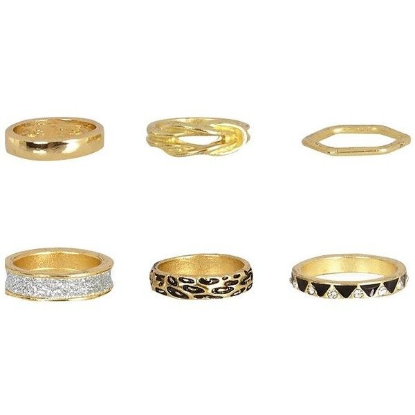 River Island Gold tone eclectic ring pack ($11) ❤ liked on Polyvore featuring jewelry, rings, accessories, animal print ring, gold colored jewelry, goldtone jewelry, gold tone rings and set rings