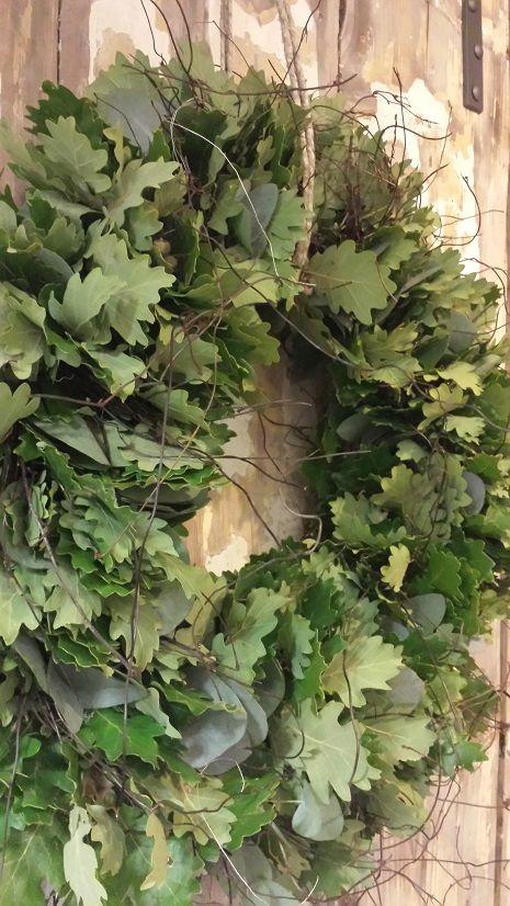 Krans @ GoedGevonden: Eikenblad, Eucalyptus en hout