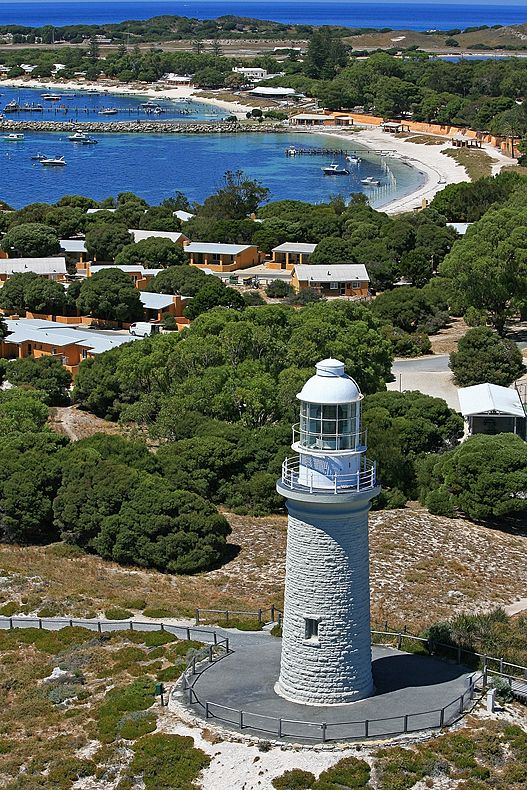 Bathurst Point Lighthouse, Rottnest Island, off the coast of Perth, Western Australia. No cars allowed- only wheels are Bikes.
