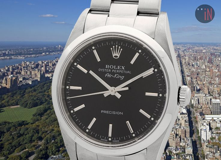 """Hovering Over Two Worlds!"" #Rolex 34mm Air-King Precision A Serial Ref#: 14000  ($3,449.00 USD) http://www.elementintime.com/Rolex-Air-King-Precision-14000-Stainless-Steel-Black-Index-Dial-A-Serial"