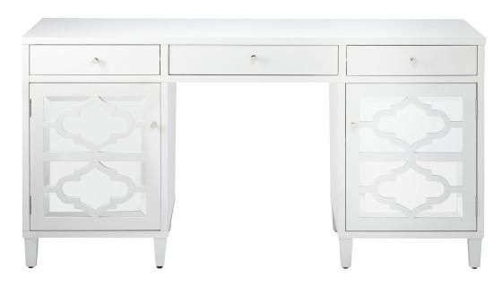 White desk with mirrored doors - Reflections Executive Desk - Computer Desks - Home Office - Furniture | HomeDecorators.com