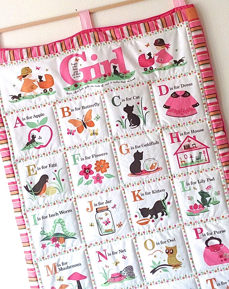alphabet girls quilted wall hanging pink abc quilt