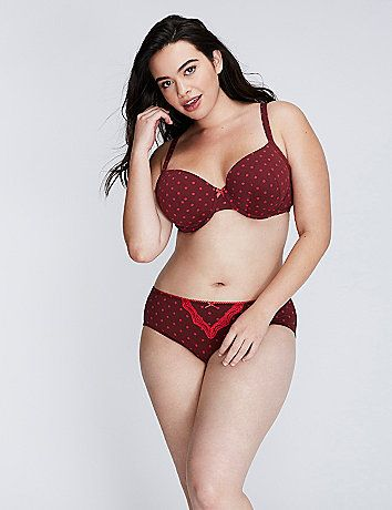 Your essential cotton bra! Our cottonT-shirt bra provides the fit and   style solutions you need: a smooth, seamless appearance under clothing   and lightly padded, molded underwire cups for great shaping with no   show-through. Adjustable lingerie straps.<br /> <br /> Cacique, exclusively by Lane Bryant offers full figure lingerie and   beautiful bras in extended sizes, because nobody fits you like Lane   Bryant! lanebryant.com