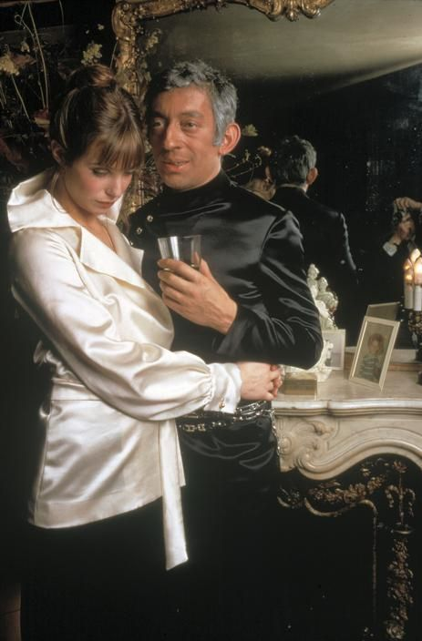Serge Gainsbourg and Jane Birkin wearing Cerruti creations, at their apartment in Paris, 1969; photo by Nicolas Tikhomiroff.