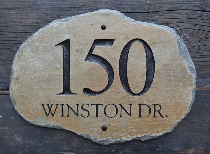 HOME ADDRESS Numbers Slate/ Plaque / House Marker Sign Column address. $85.00, via Etsy. Love the natural shape on this one