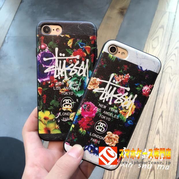 iphone7ケースstussy花柄メンズ芸能人おしゃれ6アイフォン7ステューシー6plusソフトtpu製女子携帯カバー