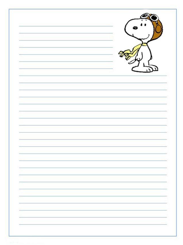 Imprime gratis papel de carta infantil de Snoopy para niños