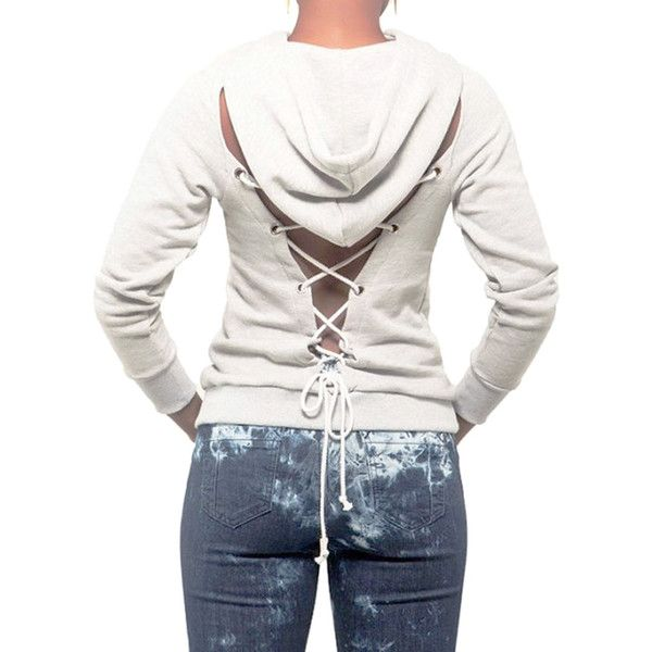 White Lace Up Back Plain Hoodie ($33) ❤ liked on Polyvore featuring tops, hoodies, hooded sweatshirt, lace up top, lace up front top, white hooded sweatshirt and hooded pullover