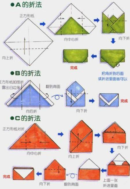 Схема сборки конверта оригами.