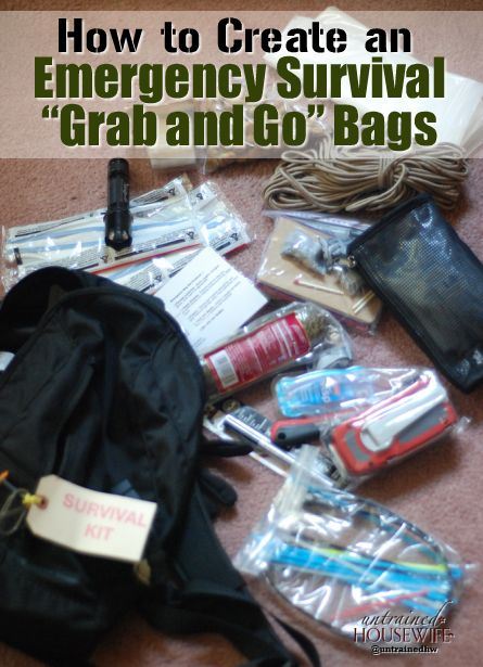 Every family should have grab-and-go emergency bags for potential emergencies. Even young children can help pack a go bag and store it in an easy-to-access place. Make grabbing the survival bags part of your emergency drills with your family.