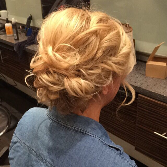 Beautiful low up-do for medium length hair. #hairbychezney