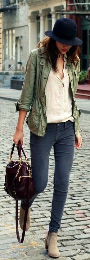 Army Green Jacket + Oxblood Bag